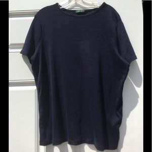 Ralph Lauren 1X plain Blue shirt